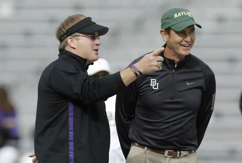 TCU's Gary Patterson (left) criticized Art Briles' Baylor team after last year's game. Photo: L.M. Otero / Associated Press / AP