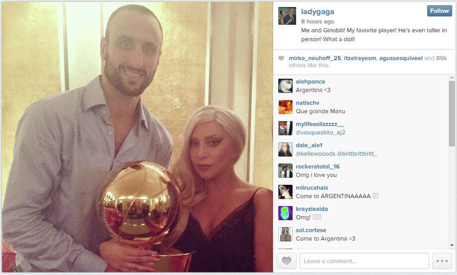 Lady Gaga spent time with the Spurs in Germany on the first stop of the NBA Global Games 2014 tour. Photo: Lady Gaga Instagram