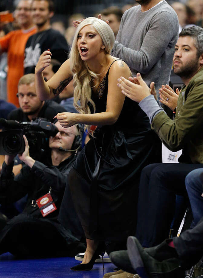 BERLIN, GERMANY - OCTOBER 08:  Singer Lady Gaga gestures during the NBA Global Games Tour 2014 match between Alba Berlin and San Antonio Spurs at O2 World on October 8, 2014 in Berlin, Germany. Photo: Boris Streubel, Getty Images / 2014 Getty Images