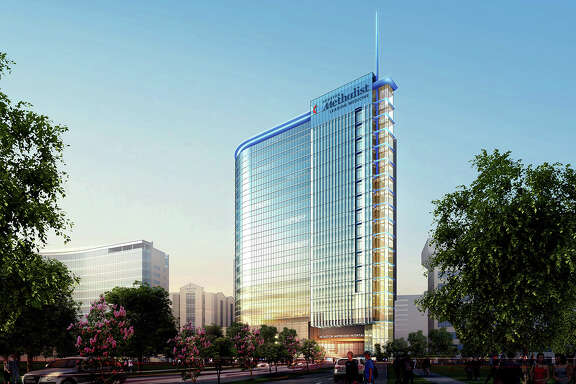 Rendering of the Houston Methodist Hospital tower designed by WHR Architects and scheduled to open early next year.