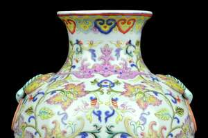 A Chinese qianlong-style doucai porcelain vase from the estate of John and Ann Hamilton sold for $930,000 at auction.