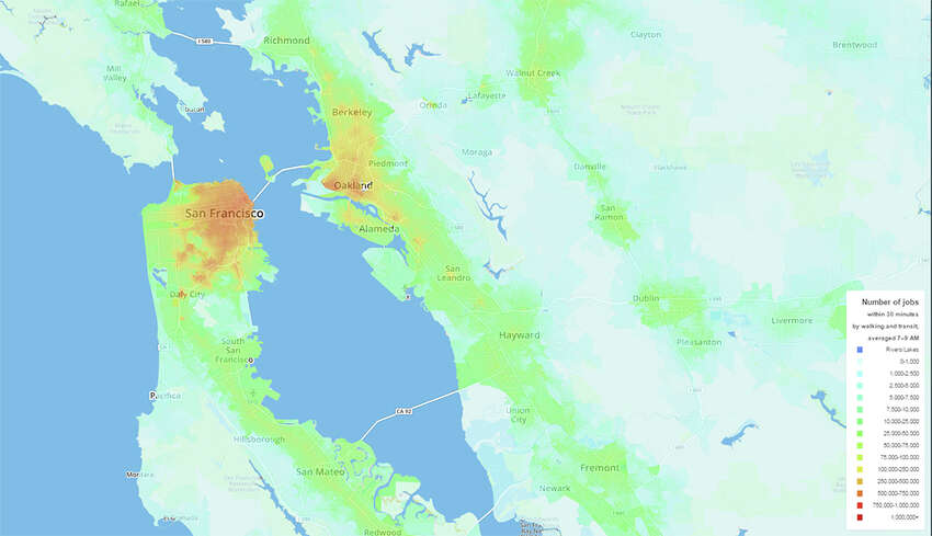 2. San Francisco: The Access Across America: Transit 2014 study by researchers at the University of Minnesota generated regional heat maps to gauge accessibility to jobs by transit.
