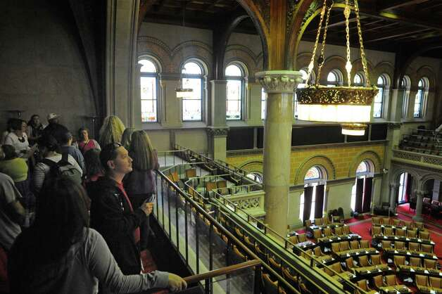 Sandy Westfall gives a Capitol Hauntings Tour at the Capitol Building on Thursday Oct. 9, 2014 in Albany, N.Y.  (Michael P. Farrell/Times Union) Photo: Michael P. Farrell / 10028914A