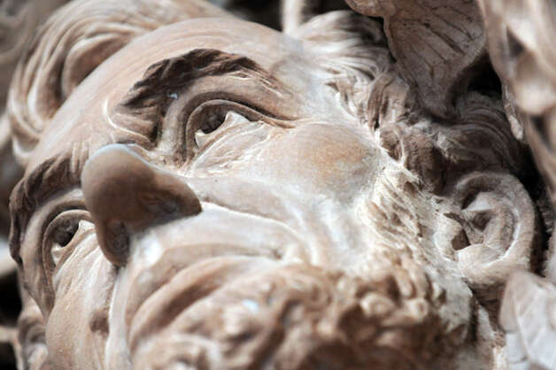 The stone carving face of Abraham Lincoln is a stop on the Capitol Hauntings Tour at the Capitol Building on Thursday Oct. 9, 2014 in Albany, N.Y.  (Michael P. Farrell/Times Union) Photo: Michael P. Farrell, Albany Times Union / 10028914A