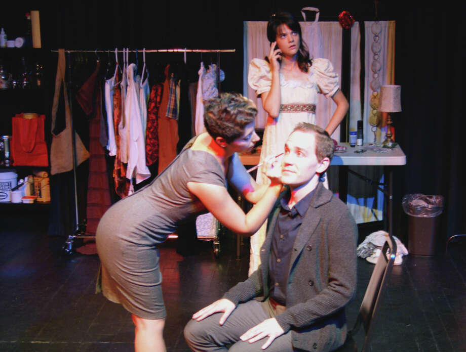 """Gwen (Kat Bushnell) helps Warren (Justin Gillman) with his makeup for """"Arcadia"""" as the ingenue Electra (Brandice Thompson) prepares in No Nude Men Productions' """"Pastorella."""" Photo: Cody Rishell / Cody Rishell / ONLINE_YES"""