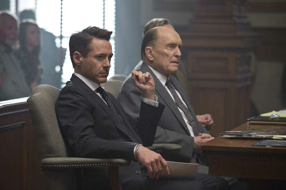 """""""The Judge""""IMDb: 7.6/10Review by Mick LaSalle: Downey, Duvall spar to good effect in 'Judge'Four starsTake """"The Judge"""" on its own terms, as a touching exploration of a father-son relationship, and you may be disappointed. Honest in some ways, it also has just enough schmaltz to make viewers pull back precisely when they're supposed to surrender fully. Sometimes, sentimental is just another word for predictable. """"The Judge,"""" despite many virtues, follows a pattern.  Better to think of it this way, as a collision between Robert Duvall and Robert Downey Jr. - or rather their personas - thrown together in a scenario in which they must pretend to be father and son. Photo: Claire Folger, HO / Warner Bros."""
