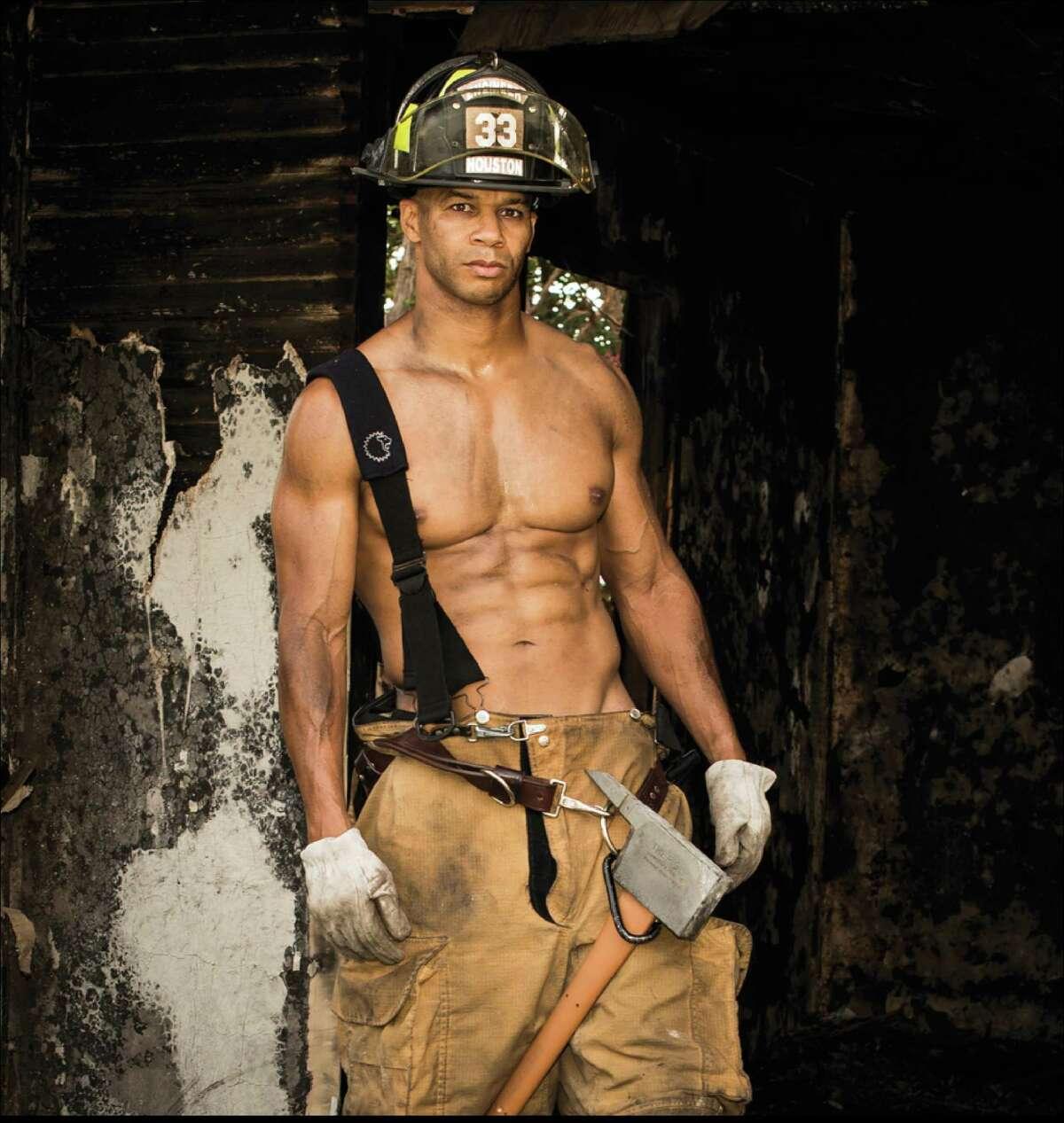 Mr. January Sedrick Robinett is the cover model for the 2015 Houston Firefighter's Calendar. All proceeds go to the Burned Children's Fund.