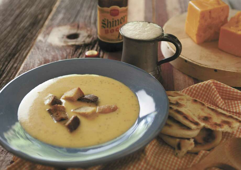 "Shiner Bock and Cheddar Cheese Soup with Jalapeños and Garlic Croutons is a recipe from Thompson-Anderson's ""Texas on the Table: People, Places and Recipes Celebrating the Flavors of the Lone Star State."" / ©Sandy Wilson Photography"