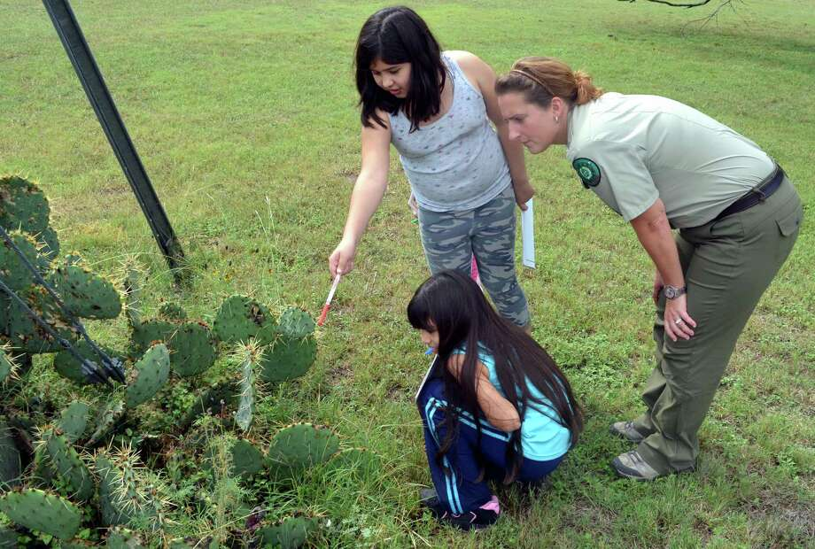 Checking out a pear cactus, Sara Reyna, pointing, and her sister Samantha Reyna learn how to become Junior Rangers from Interpretive Ranger Cara Bierschwale. Photo: Ralph Winingham, For The Express-News