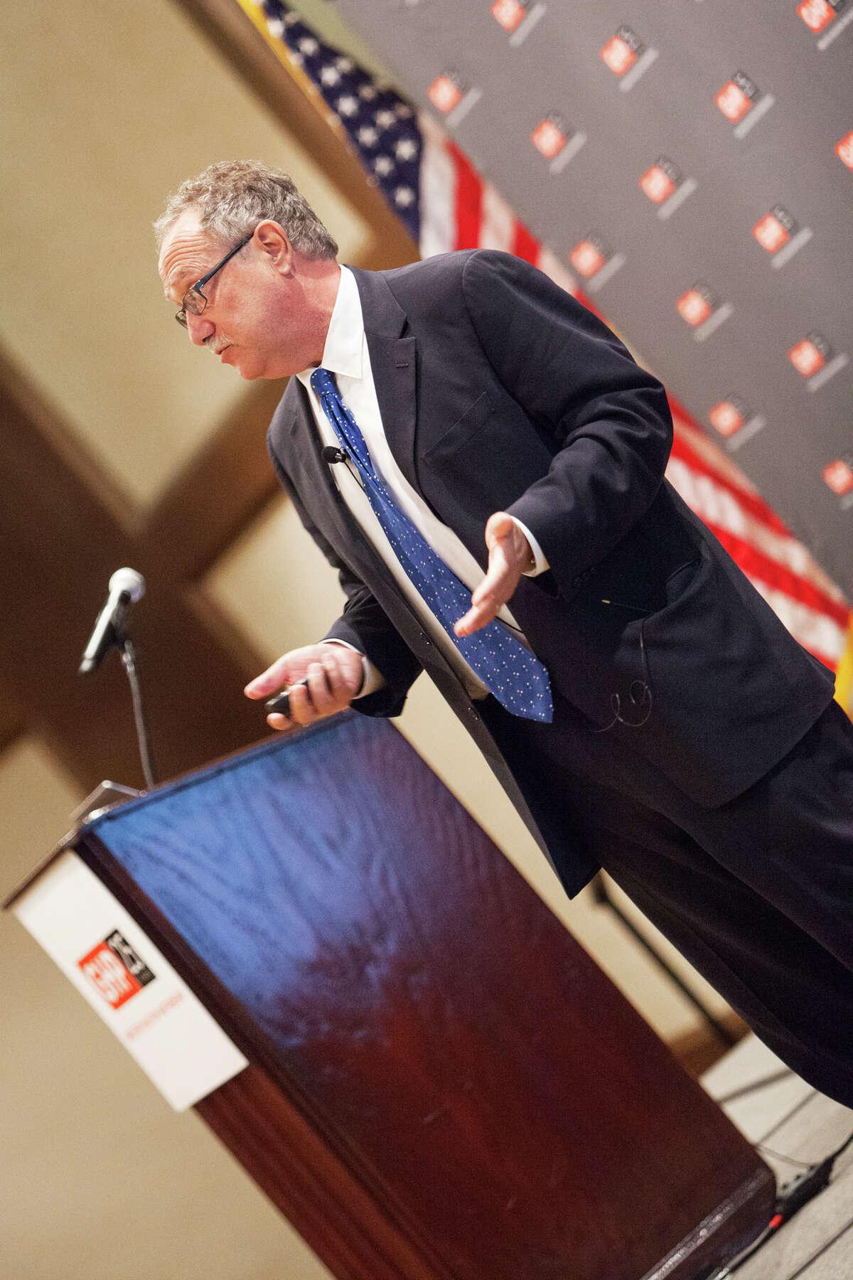 Joel Kotkin speaking to members of the Greater Houston Partnership
