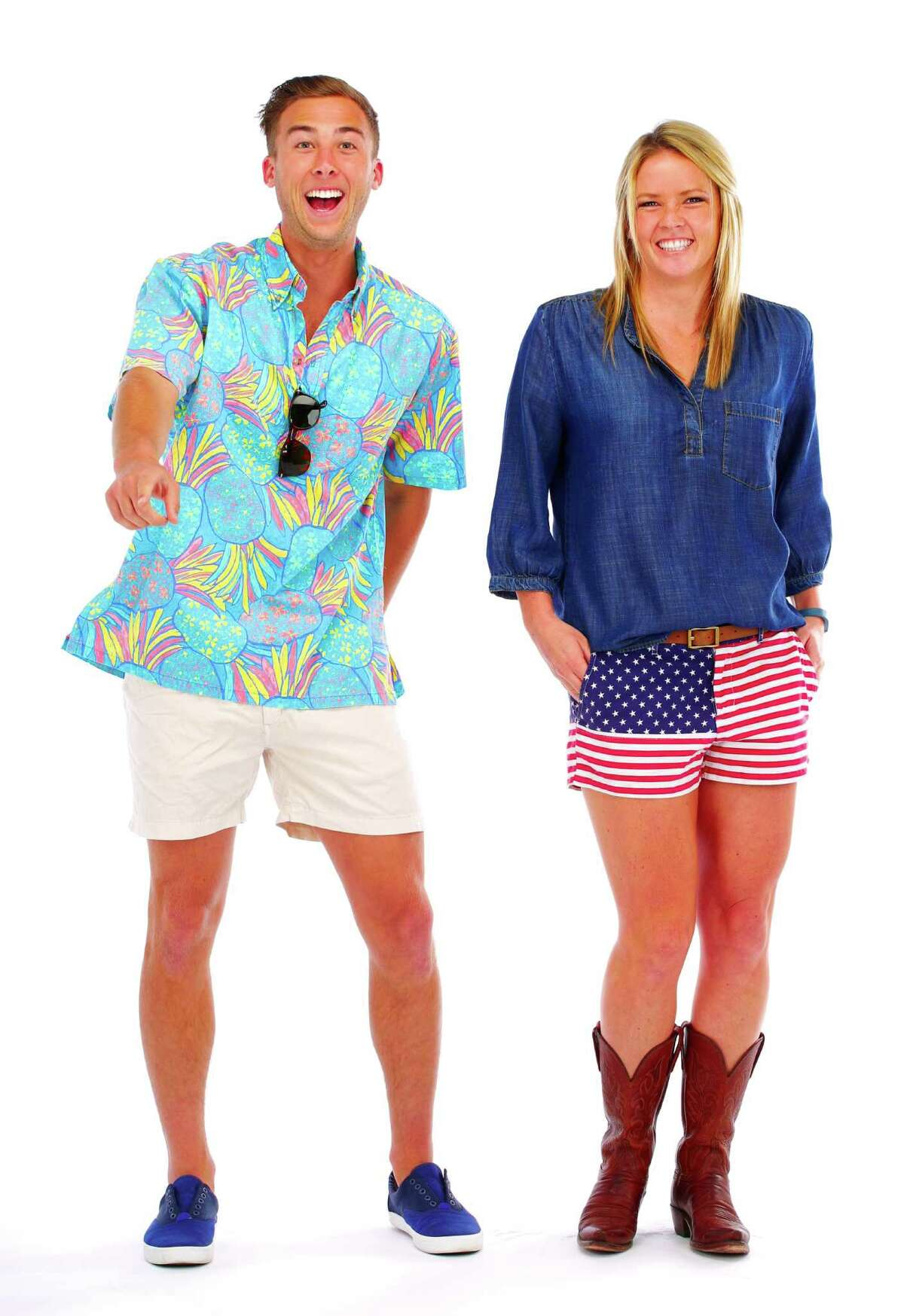 Auzy Freed and Lauren Haugh in Chubbies: She wears Custom Chubbies women's shorts, Anthropologie Elevenses chambray shirt, Lucche cowboy boots bought in Austin, Texas. He wears Nutter Hawaiian shirt from Chubbies (in pre-sale and available spring 2015); Khakmeister Chubbies shorts, Hillsboro shoes from Jack Threads, Breda Watch, *Persol Sunglasses.