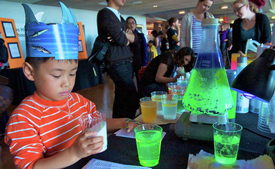 A youngster wearing a paper crown of shark fins visits an S.F. State booth on chemistry and colors. Photo: Bay Area Science Festival / ONLINE_YES