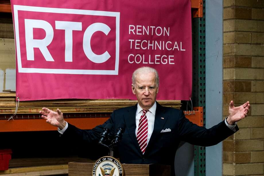 Vice President Joe Biden tours the Renton Technical College, celebrating a recent recipient of a U.S. Department of Labor job-driven training grant. It was a rare public appearance.  Photo: JORDAN STEAD, SEATTLEPI.COM