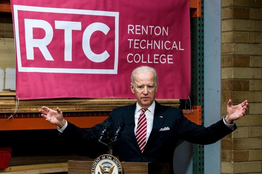Vice President Joe Biden tours the Renton Technical College, celebrating a recent recipient of a U.S. Department of Labor job-driven training grant. It was a rare public appearance. Photo: JORDAN STEAD, SEATTLEPI.COM