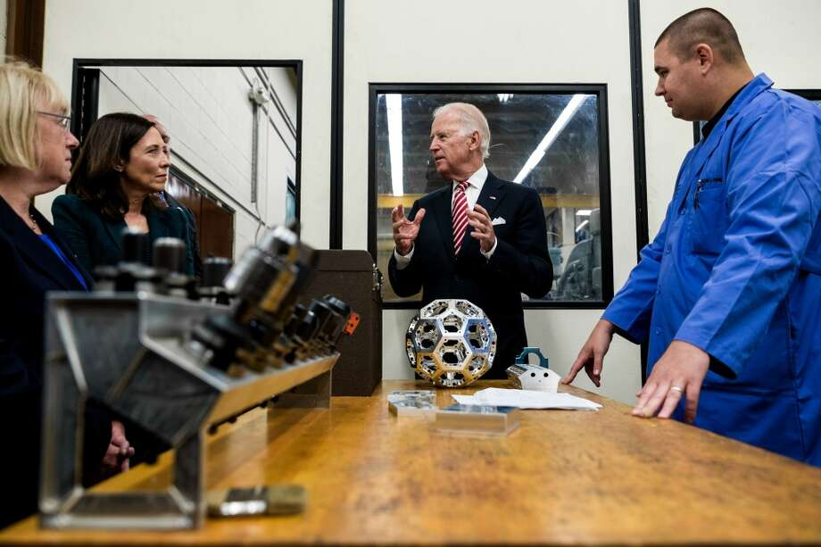 Ex-Vice President Joe Biden, pictured on a 2014 Renton visit, tops Trump by 53-41 in national poll.  Photo: JORDAN STEAD, SEATTLEPI.COM
