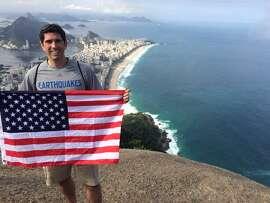 Frank Stranzl at the peak of Dois Irmaos in Rio de Janeiro.