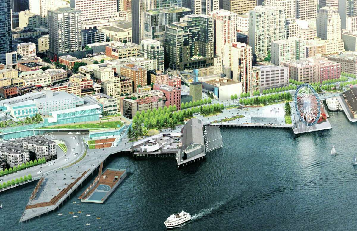 This is the 8.8-acre plan for a new central waterfront, which includes a reconstructed Pier 62/63, the Aquarium Plaza, the Union St. Pier, and a tree-lined Alaskan Way.