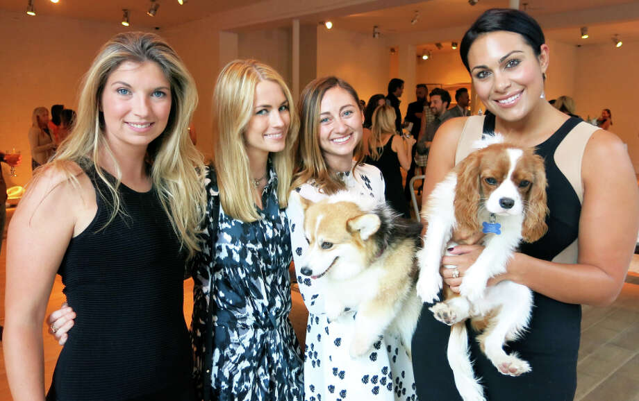 Cameron Phleger (left), FOF founder Amanda Hearst, Rebecca Miller (with Frankie) and Libby Leffler (with @cookie) at Hedge. Photo: Catherine Bigelow / Special To The Chronicle / ONLINE_YES