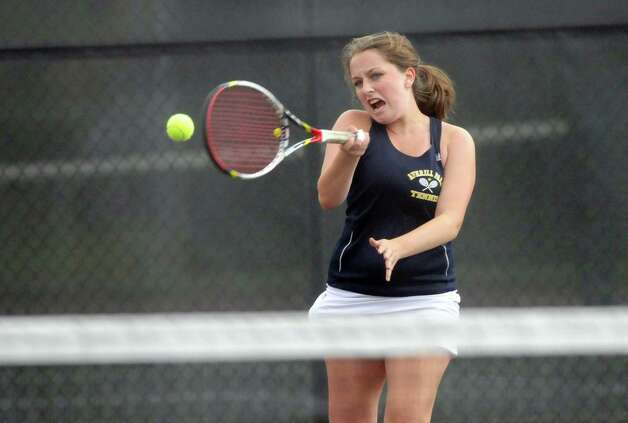 Averill Park High School girl's tennis player, Abbey Clobridge, hits the ball during her team's match against Scotia Glenville High School on Wednesday, Oct. 8, 2014 in Scotia, N.Y.   (Paul Buckowski / Times Union) Photo: Paul Buckowski / 10028953A
