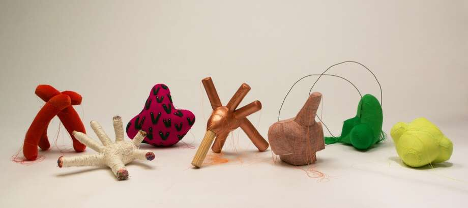 """Lauren DiCioccio's """"Familiars"""" (2014), mixed media sculptures, seem playful at first but that mood fades the longer one looks. Photo: Unknown / Jack Fischer Gallery / ONLINE_YES"""