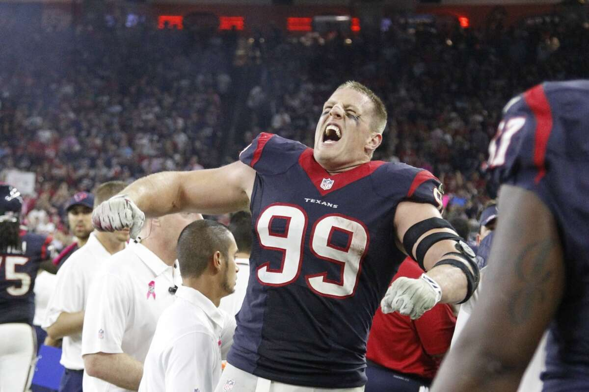 J.J. Watt What you need: Superman cape, lightning bolts, H-E-B fajita meatOptional: A team of other people dressed as Texans to carry on your shoulders for 16 weeks.