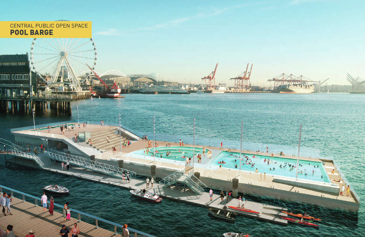 Seattle's waterfront design originally included a 21,000-square-foot swimming pool barge, which would have had a lap pool, kids' pool and a dock for small boats. The idea was nixed last month due to cost, but who knows, maybe the idea will one day re-appear.