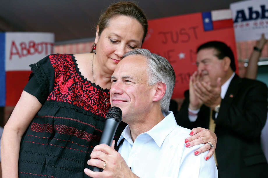 Texas Attorney General Greg Abbott, with wife Cecilia,   speaking to supporters in McAllen. Photo: Edward A. Ornelas / San Antonio Express-News / © 2014 San Antonio Express-News
