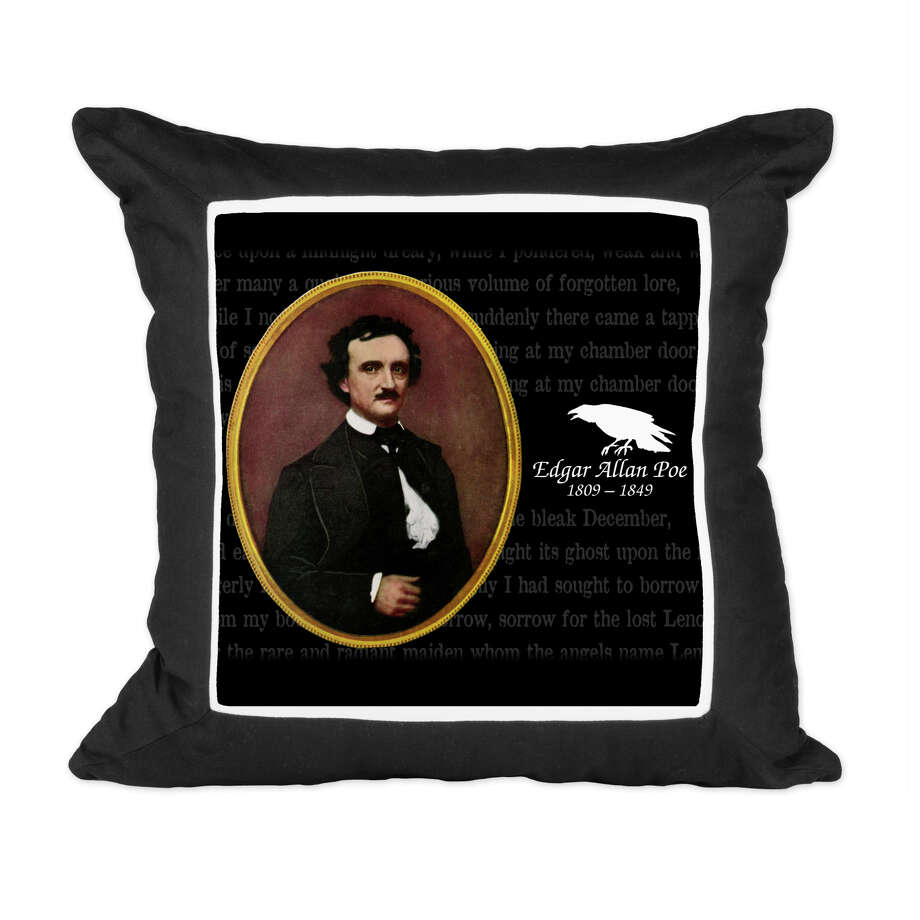 An Edgar Allan Poe-themed party would be enhanced with a few throw pillows from CafePress with imagery that includes the authors portrait, printed passages from some of his works, and vintage illustrations from the books. Photo: CafePress / Associated Press / CafePress