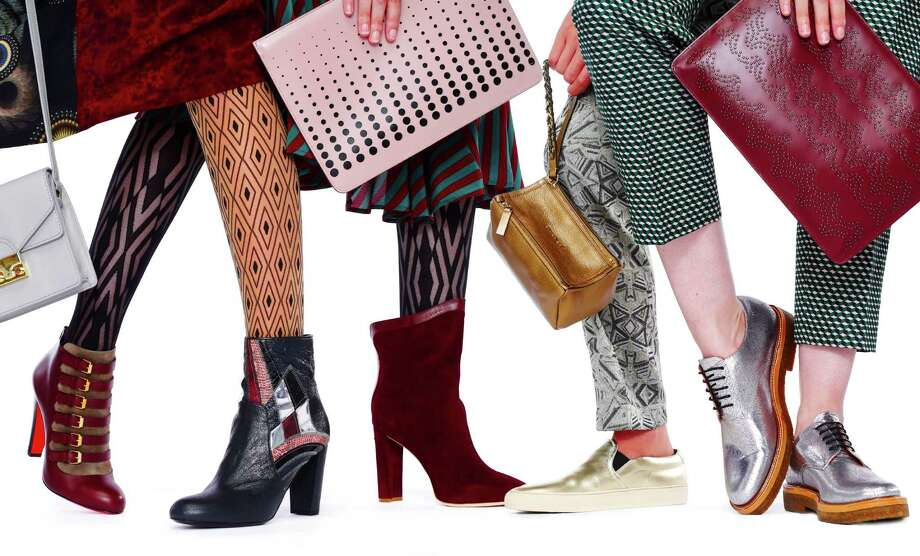 Marching orders, from  left: Loeffler Randall shoulder bag, $325, Gimme Shoes, 416 Hayes St., S.F.; Miller et Bertraux silk dress, $1,195, Modern Appealing Clothing, 387 Grove St., S.F.; Oroblu allure tights, $23, Nordstrom, S.F.; Christian Louboutin Attroupee boots, $1,295, Barneys New York, S.F.; Wolford Sahara tights, Nordstrom, S.F.; Dries Van Noten patchwork boots, $1,040, Barneys New York, S.F.; Azzedine Alaia rose clutch, $1,100, and Chelsea Paris Umeki ankle boots, $645, all Barneys; Dries Van Noten dress, $1,860, MAC; Givenchy bronze wristlet, $740, Common Projects gold slip-on sneakers, $450, both Barneys New York, S.F.; Dries Van Noten Deco pants, $895, MAC; Dries Van Noten silver oxford, $695, Gimme Shoes; Dries Van Noten green print pants, $620, Modern Appealing Clothing; Azzedine Alaia burgundy clutch, $1,650, Barneys. 