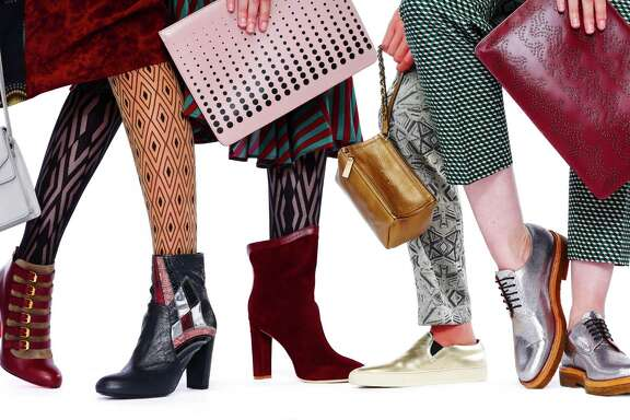Marching orders, from  left: Loeffler Randall shoulder bag, $325, Gimme Shoes, 416 Hayes St., S.F.; Miller et Bertraux silk dress, $1,195, Modern Appealing Clothing, 387 Grove St., S.F.; Oroblu allure tights, $23, Nordstrom, S.F.; Christian Louboutin Attroupee boots, $1,295, Barneys New York, S.F.; Wolford Sahara tights, Nordstrom, S.F.; Dries Van Noten patchwork boots, $1,040, Barneys New York, S.F.; Azzedine Alaia rose clutch, $1,100, and Chelsea Paris Umeki ankle boots, $645, all Barneys; Dries Van Noten dress, $1,860, MAC; Givenchy bronze wristlet, $740, Common Projects gold slip-on sneakers, $450, both Barneys New York, S.F.; Dries Van Noten Deco pants, $895, MAC; Dries Van Noten silver oxford, $695, Gimme Shoes; Dries Van Noten green print pants, $620, Modern Appealing Clothing; Azzedine Alaia burgundy clutch, $1,650, Barneys.  Styling: Suchandra Bullock for Tokyo SF Agency; Styling Assistant: Stephanie St Croix; Models: Lana K. and Alyssa M. / Stars Model Management SF