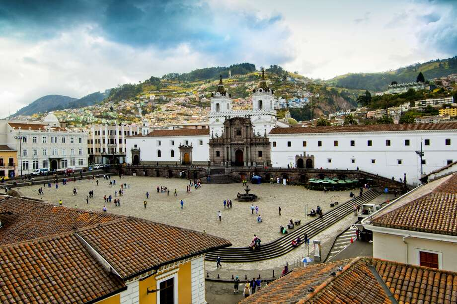The San Francisco Church and Monastery is a 16th century Roman Catholic complex in Quito, Ecuador. It fronts the large public square called the Plaza de San Francisco in the Old Town or Centro Historico. The church and historic center of Quito was declared a UNESCO World Cultural Heritage Site in 1978 because it is one of the largest, least-altered and best preserved historic centers in the Americas. The structure is the largest architectural ensemble among the historical structures of colonial Latin America. Photo: John Coletti, Getty Images