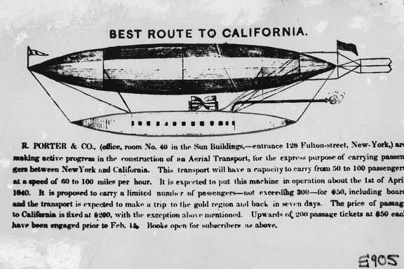Rufus Porter's 'Aerial Transport' dirigible airship, expected to fly from New York to the gold country in seven days in 1849.  Photo ran 09/20/1970 Handouthandou