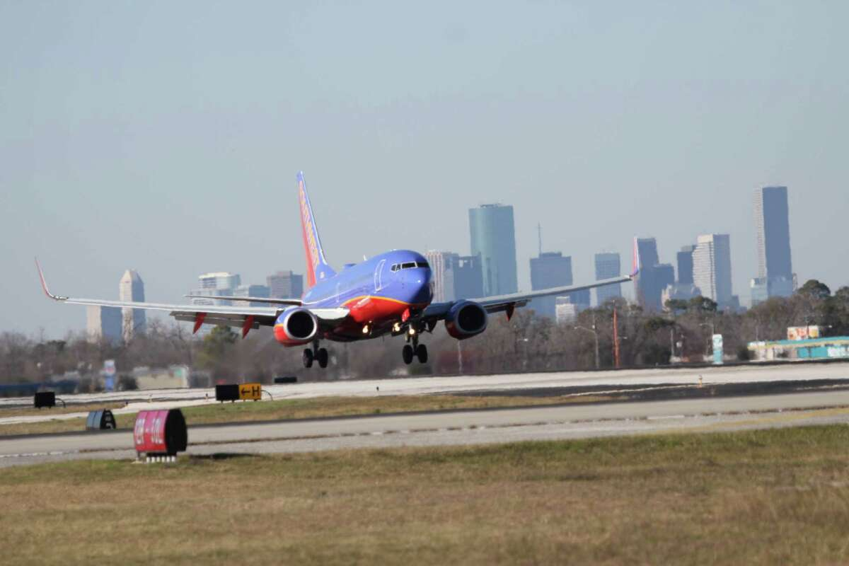 Southwest Airlines plane lands at Hobby Airport.