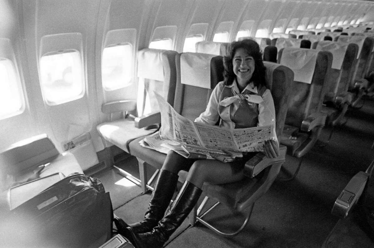 Southwest Airlines flight attendant takes a breather before the next flight.