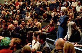 Vanity Fair's tech summit drew, top, filmmaker Scott Aukerman, left, actor Nick Kroll, and Katie Couric, above, to S.F.