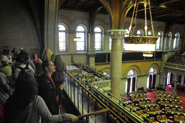 Sandy Westfall gives a Capitol Hauntings Tour at the Capitol Building on Thursday Oct. 9, 2014 in Albany, N.Y.  (Michael P. Farrell/Times Union) Photo: Michael P. Farrell, Albany Times Union / 10028914A