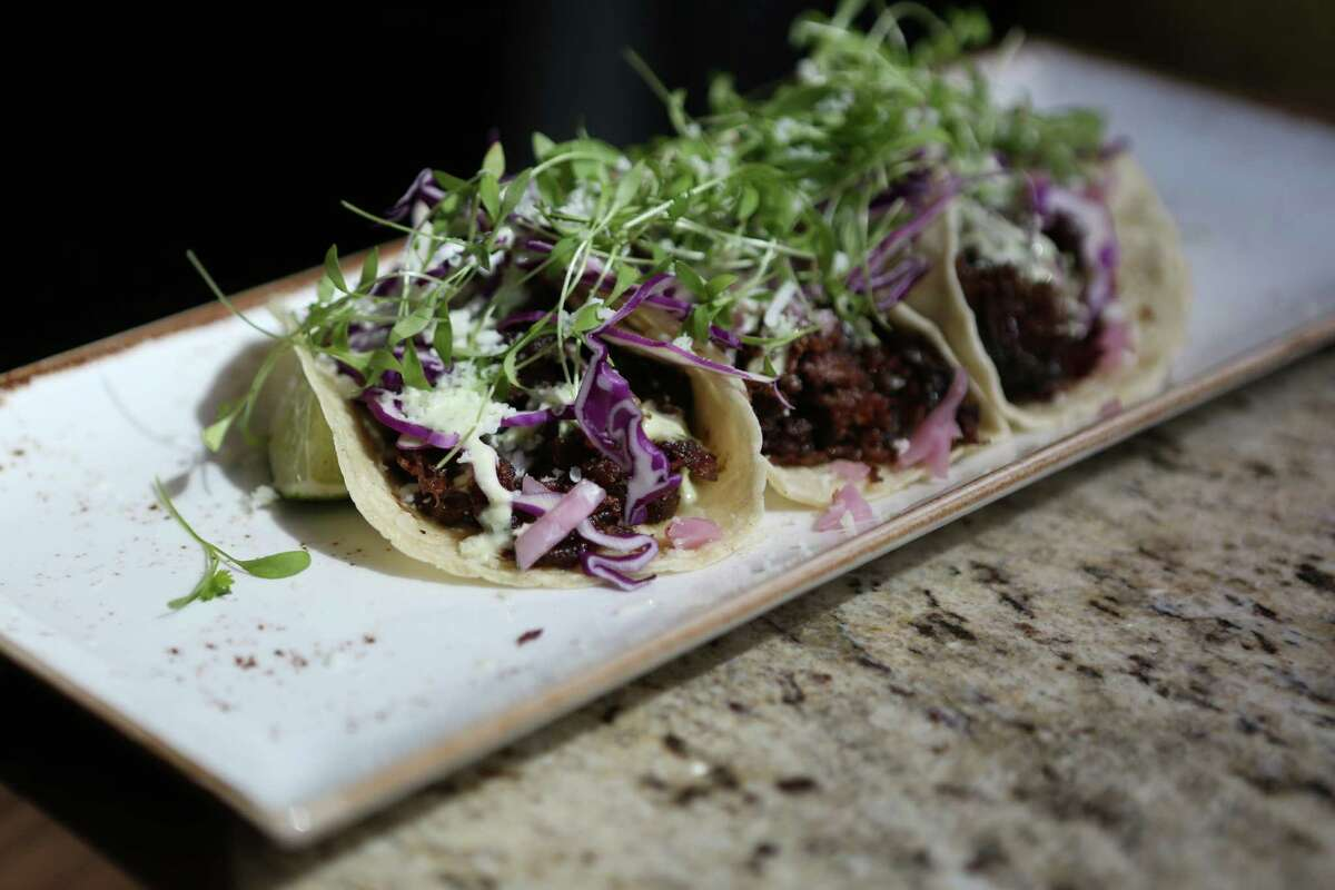 Guajillo Short Ribs Tacos is served at Main Kitchen in JW Marriott Hotel in downtown Houston.