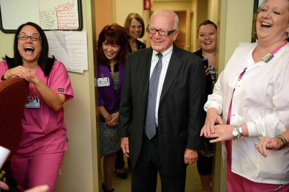 State Sen. Joe Crisco meets breast imaging specialists during a tour of the Center for Cancer Care at Griffin Hospital in Derby, Conn. Friday Oct. 10, 2014. The longtime incumbent is being challenged in the 17th district by Republican Phil Tripp, of Ansonia. Photo: Autumn Driscoll / Connecticut Post