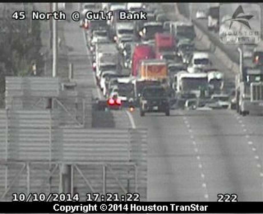 A two-vehicle accident involving a heavy truck has stopped Interstate-45 North traffic coming south into downtown. Photo: Houston TranStar