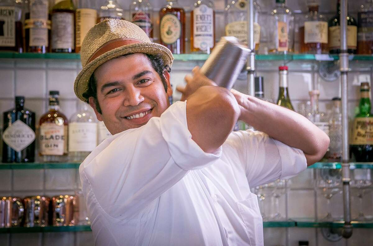 Bartender Will Herrera makes the Absinthe Punch at Cafe Terminus in San Francisco, Calif. on Friday, September 26th, 2014.