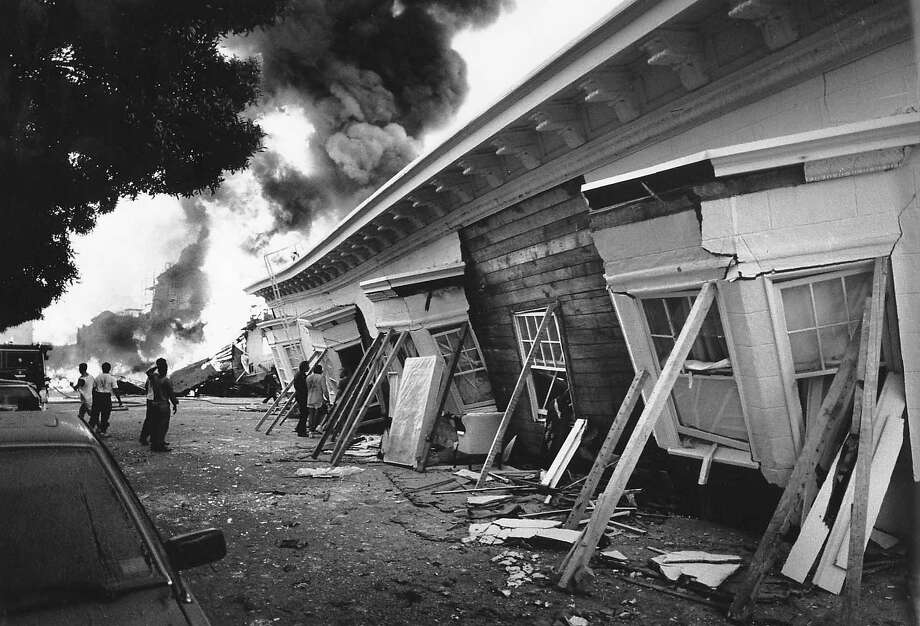 A three story building collapsed  and burned  at Beach and Divisadero in the Marina district in San Francisco after the Loma Prieta earthquake. Photo: Vince Maggiora, The Chronicle