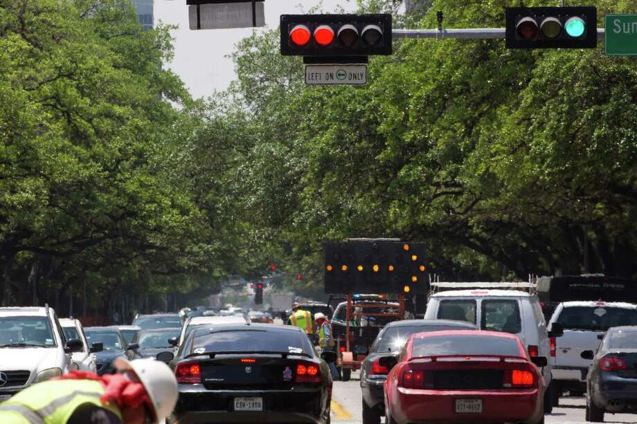 Traffic jams on Main Street in direction to the Texas Medical Center, Friday, April 25, 2014, in Houston. ( Marie D. De Jesus / Houston Chronicle ) Photo: Marie D. De Jesus, Staff / © 2014 Houston Chronicle