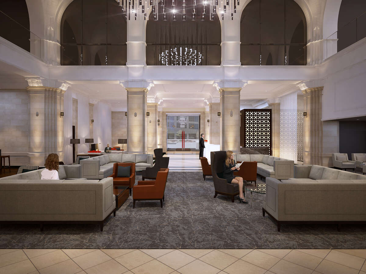 A rendering shows The Rice lobby after a renovation to be completed by spring.