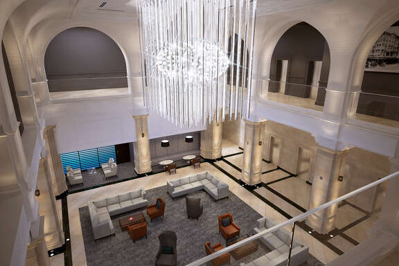 This rendering shows the lobby of The Rice after a major renovation. Originally the Rice Hotel, it was constructed in 1913. The 18-story downtown building was redeveloped as apartments in the late 1990s.