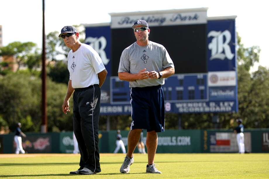 Lance Berkman, 38, right, of Houston, with Rice University baseball manager Wayne Graham, at Reckling Park on the campus of Rice University Tuesday, Oct. 7, 2014, in Houston, Texas. Berkman, former Major League Baseball player with the Houston Astros, is back at Rice University attending class four days a week to complete a degree in kinesiology and help out with the baseball team. ( Gary Coronado / Houston Chronicle ) Photo: Gary Coronado, Houston Chronicle