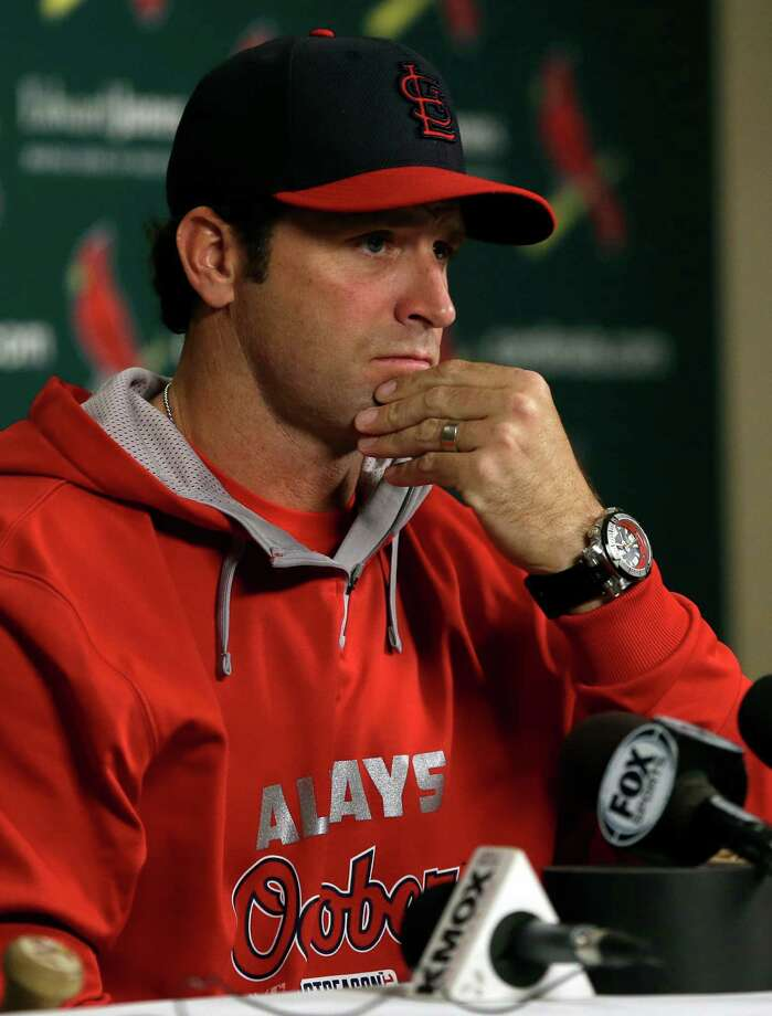 St. Louis Cardinals manager Mike Matheny listens to a question during a news conference Thursday, Oct. 9, 2014, in St. Louis. The St. Louis Cardinals and San Francisco Giants are scheduled to play Game 1 of baseball's National League Championship Series on Saturday in St. Louis. (AP Photo/Jeff Roberson) ORG XMIT: MOJR105 Photo: Jeff Roberson / AP