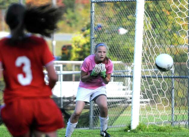 Columbia High School soccer goalie Jessica Schafer, center, during their game against Niskayuna on Tuesday Sept. 30, 2014 in East Greenbush, N.Y.  (Michael P. Farrell/Times Union) Photo: Michael P. Farrell / 10028794A