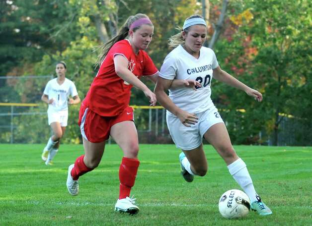 Columbia High School soccer midfielder Kylee Arno, right, during their game against Niskayuna on Tuesday Sept. 30, 2014 in East Greenbush, N.Y.  (Michael P. Farrell/Times Union) Photo: Michael P. Farrell / 10028794A