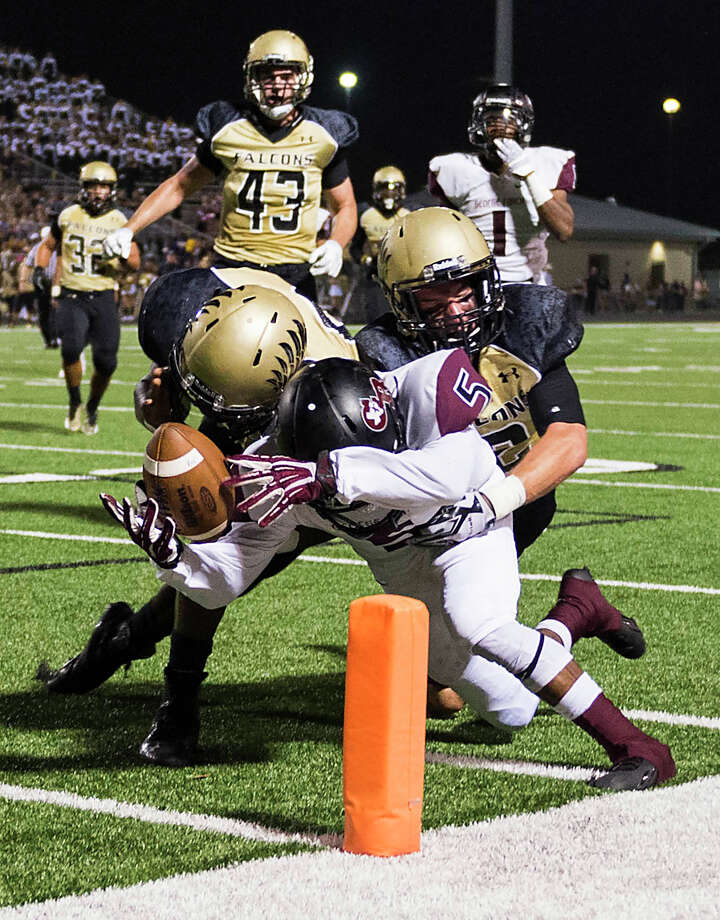 George Ranch running back Xavian Marks (5) pushes the ball into the end zone for a touchdown during the first half of a high school football game against Foster at Traylor Stadium, Friday, Oct. 10, 2014, in Rosenberg. Photo: Smiley N. Pool, Houston Chronicle / © 2014  Houston Chronicle