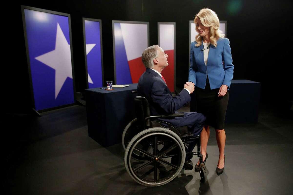 State Sen. Wendy Davis and Texas Attorney General Greg Abbott met on Sept. 30 in their second and final gubernatorial debate in a studio at KERA-TV in Dallas.